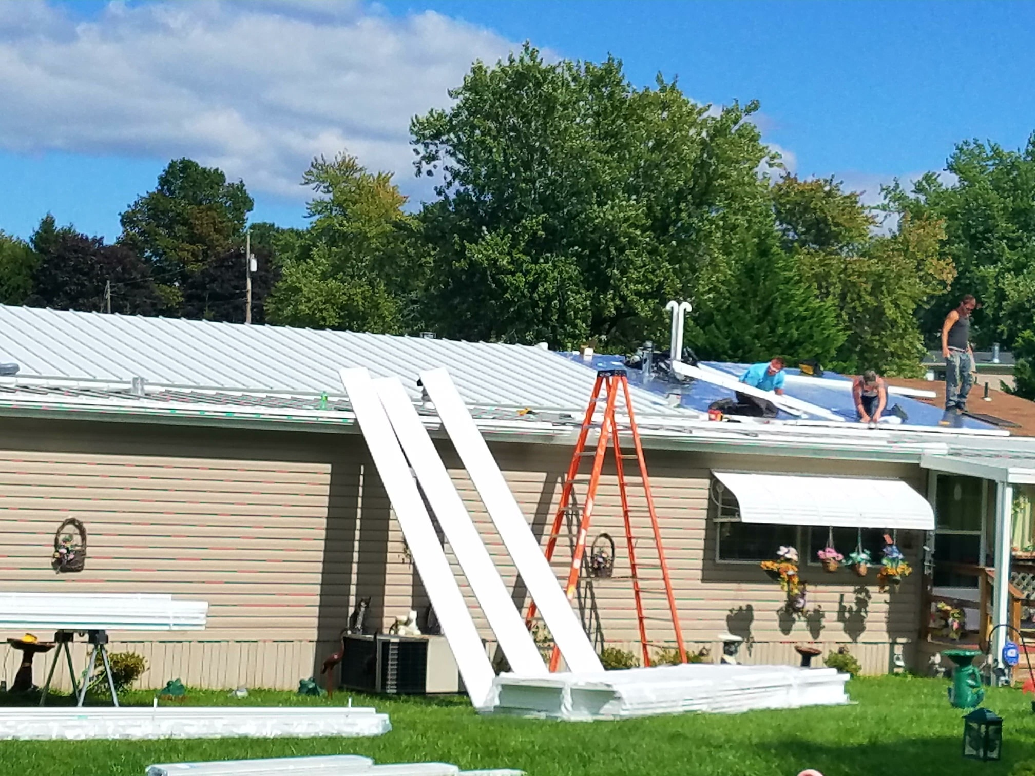 aluminumn roof over installation
