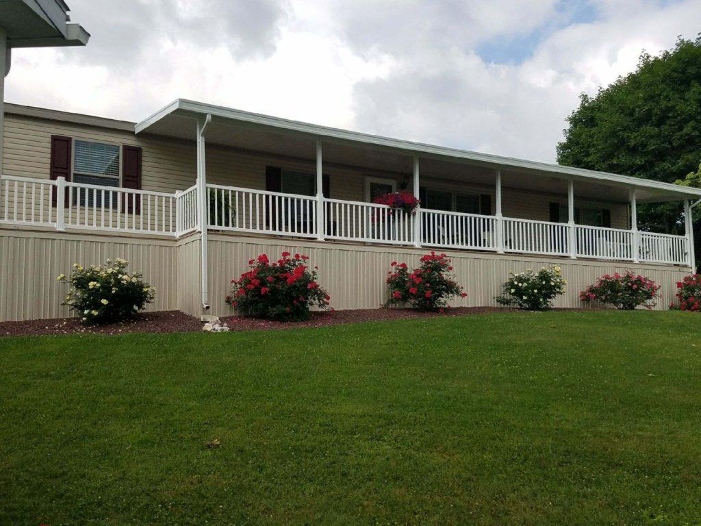 Deck, awning, PVC railing